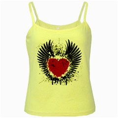 Wings Of Heart Illustration Yellow Spaghetti Tank by TastefulDesigns