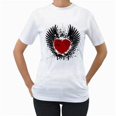 Wings Of Heart Illustration Women s T Shirt (white) (two Sided) by TastefulDesigns