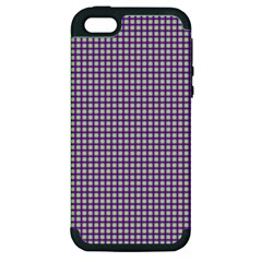 Mardi Gras Purple Plaid Apple Iphone 5 Hardshell Case (pc+silicone)