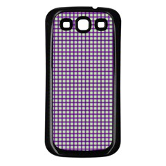 Mardi Gras Purple Plaid Samsung Galaxy S3 Back Case (black)