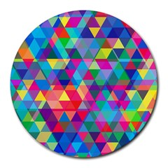 Colorful Abstract Triangle Shapes Background Round Mousepads by TastefulDesigns