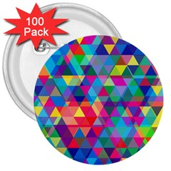 Colorful Abstract Triangle Shapes Background 3  Buttons (100 Pack)  by TastefulDesigns