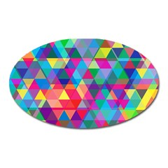 Colorful Abstract Triangle Shapes Background Oval Magnet by TastefulDesigns
