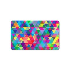 Colorful Abstract Triangle Shapes Background Magnet (name Card) by TastefulDesigns