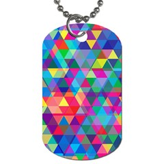 Colorful Abstract Triangle Shapes Background Dog Tag (two Sides) by TastefulDesigns