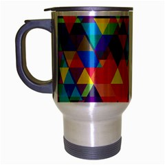 Colorful Abstract Triangle Shapes Background Travel Mug (silver Gray) by TastefulDesigns