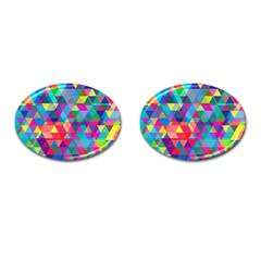 Colorful Abstract Triangle Shapes Background Cufflinks (oval) by TastefulDesigns
