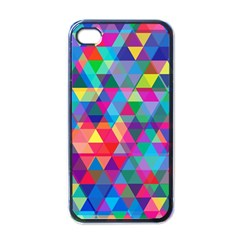 Colorful Abstract Triangle Shapes Background Apple Iphone 4 Case (black) by TastefulDesigns