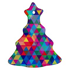 Colorful Abstract Triangle Shapes Background Ornament (christmas Tree)  by TastefulDesigns