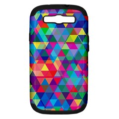 Colorful Abstract Triangle Shapes Background Samsung Galaxy S Iii Hardshell Case (pc+silicone) by TastefulDesigns