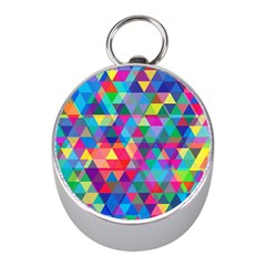 Colorful Abstract Triangle Shapes Background Mini Silver Compasses by TastefulDesigns