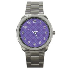 Abstract Purple Pattern Background Sport Metal Watch by TastefulDesigns