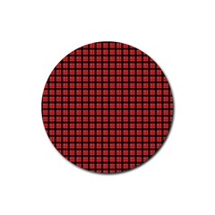 Red Plaid Rubber Round Coaster (4 Pack)