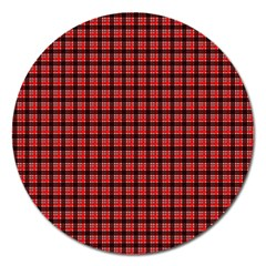 Red Plaid Magnet 5  (round) by PhotoNOLA