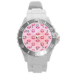 Watercolor Kisses Patterns Round Plastic Sport Watch (l) by TastefulDesigns