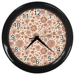 Retro Sketchy Floral Patterns Wall Clocks (black) by TastefulDesigns