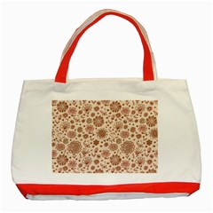 Retro Sketchy Floral Patterns Classic Tote Bag (red) by TastefulDesigns