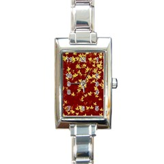 Background Design Leaves Pattern Rectangle Italian Charm Watch by Simbadda