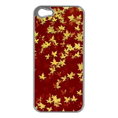 Background Design Leaves Pattern Apple Iphone 5 Case (silver) by Simbadda