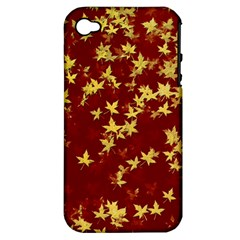 Background Design Leaves Pattern Apple Iphone 4/4s Hardshell Case (pc+silicone) by Simbadda