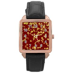 Background Design Leaves Pattern Rose Gold Leather Watch