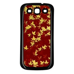 Background Design Leaves Pattern Samsung Galaxy S3 Back Case (black) by Simbadda