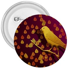 Bird Design Wall Golden Color 3  Buttons by Simbadda