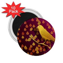 Bird Design Wall Golden Color 2 25  Magnets (10 Pack)  by Simbadda