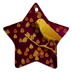 Bird Design Wall Golden Color Star Ornament (two Sides) by Simbadda
