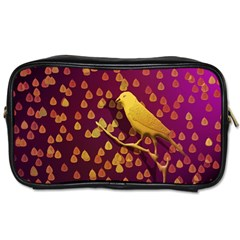 Bird Design Wall Golden Color Toiletries Bags 2 Side by Simbadda