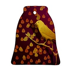 Bird Design Wall Golden Color Bell Ornament (two Sides) by Simbadda