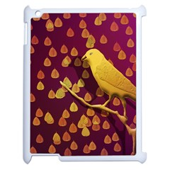 Bird Design Wall Golden Color Apple Ipad 2 Case (white) by Simbadda