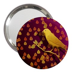 Bird Design Wall Golden Color 3  Handbag Mirrors by Simbadda
