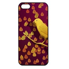 Bird Design Wall Golden Color Apple Iphone 5 Seamless Case (black) by Simbadda