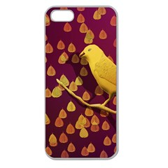 Bird Design Wall Golden Color Apple Seamless Iphone 5 Case (clear) by Simbadda