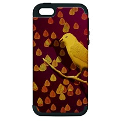 Bird Design Wall Golden Color Apple Iphone 5 Hardshell Case (pc+silicone) by Simbadda