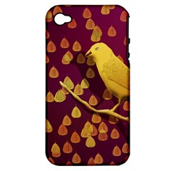 Bird Design Wall Golden Color Apple Iphone 4/4s Hardshell Case (pc+silicone) by Simbadda
