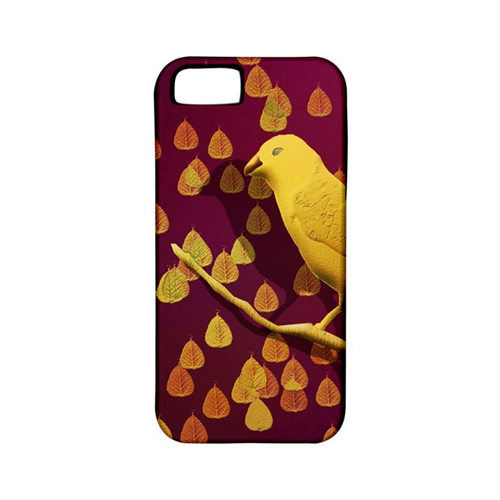 Bird Design Wall Golden Color Apple iPhone 5 Classic Hardshell Case (PC+Silicone)