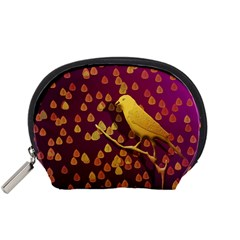 Bird Design Wall Golden Color Accessory Pouches (small)  by Simbadda