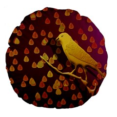 Bird Design Wall Golden Color Large 18  Premium Flano Round Cushions by Simbadda
