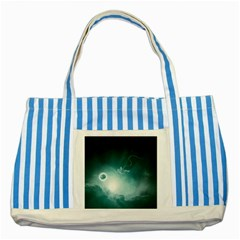 Astronaut Space Travel Gravity Striped Blue Tote Bag by Simbadda