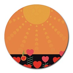 Love Heart Valentine Sun Flowers Round Mousepads by Simbadda