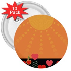 Love Heart Valentine Sun Flowers 3  Buttons (10 Pack)  by Simbadda