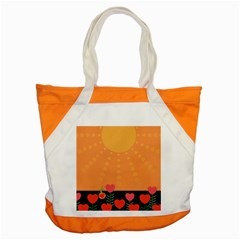 Love Heart Valentine Sun Flowers Accent Tote Bag by Simbadda