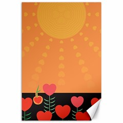 Love Heart Valentine Sun Flowers Canvas 24  X 36  by Simbadda