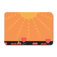 Love Heart Valentine Sun Flowers Small Doormat  by Simbadda