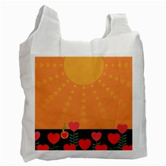 Love Heart Valentine Sun Flowers Recycle Bag (one Side) by Simbadda