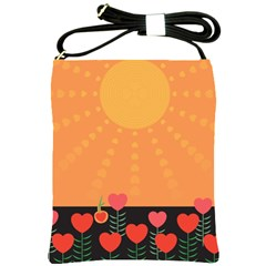 Love Heart Valentine Sun Flowers Shoulder Sling Bags by Simbadda