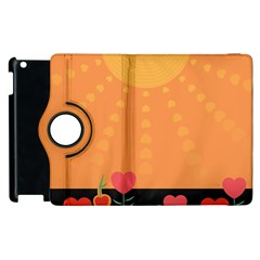 Love Heart Valentine Sun Flowers Apple Ipad 3/4 Flip 360 Case by Simbadda