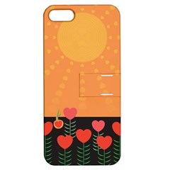 Love Heart Valentine Sun Flowers Apple Iphone 5 Hardshell Case With Stand by Simbadda